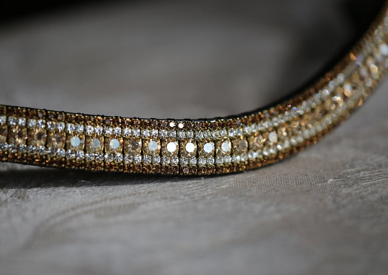 Golden honey, clear and smoke topaz megabling curve browband