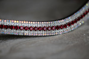 Ruby, clear and iridescent curve megabling browband