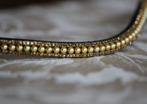 Gold pearl and smoke topaz browband