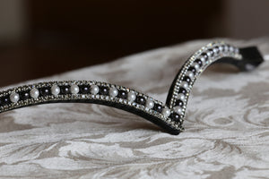 White and jet pearl and black diamond browband