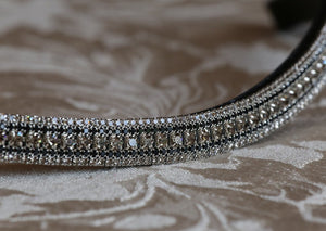 Black diamond and jet antique browband