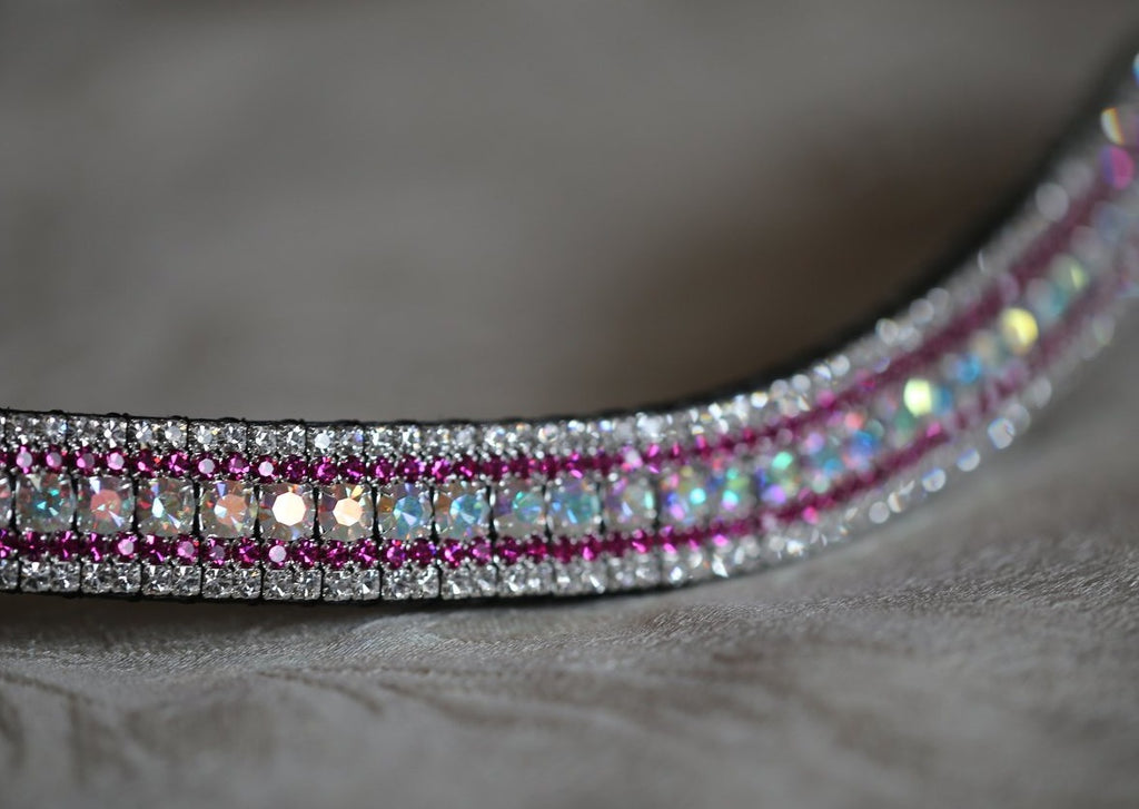 Iridescent, fuchsia and clear megabling curve browband