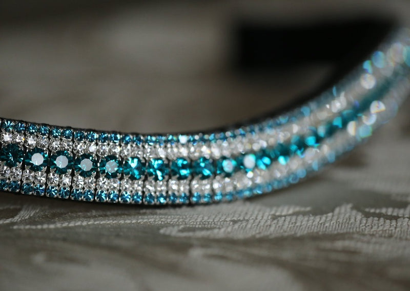 Blue zircon, clear and indicolite curve megabling browband