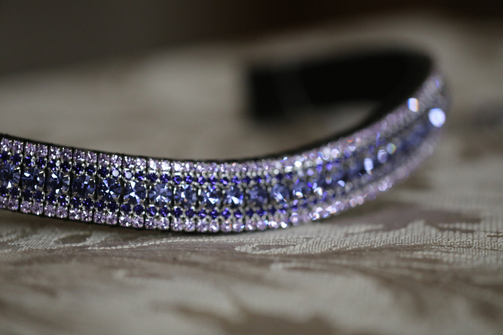 Tanzanite, purple velvet and violet curve megabling browband