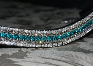 Indicolite, black diamond and clear curve megabling browband