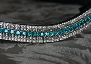 Blue zircon, black diamond and clear megabling curve browband