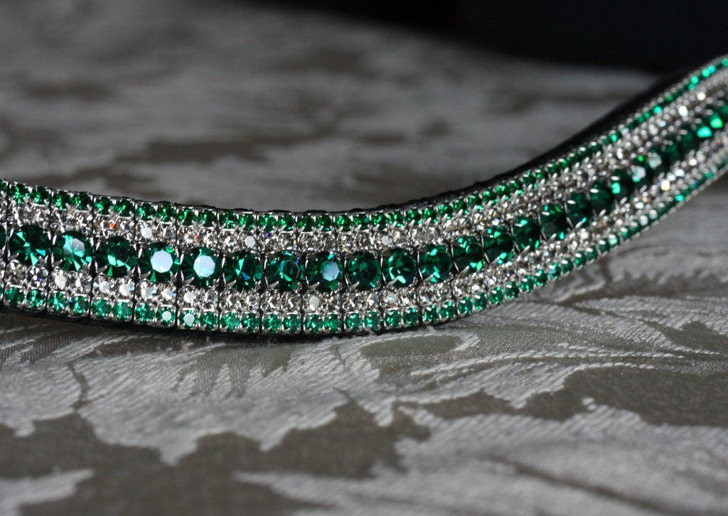 Emerald and black diamond megabling curve browband