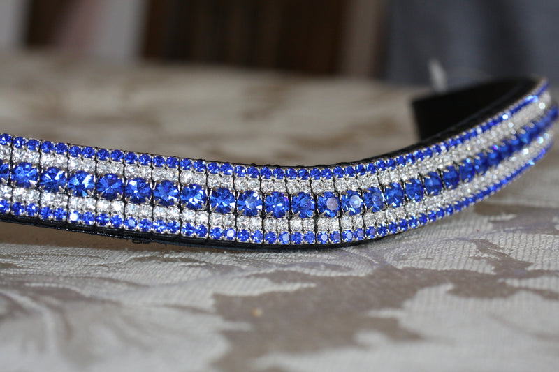 Sapphire, clear and sapphire megabling curve browband