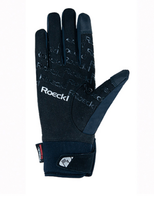 Roeckl Waregem black and silver winter riding gloves
