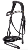Freedom black shaped patent leather snaffle bridle *without browband*