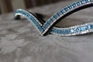 Aquamarine and clear browband