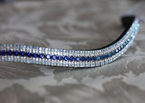 Bermuda blue, clear and sapphire ab megabling curve browband