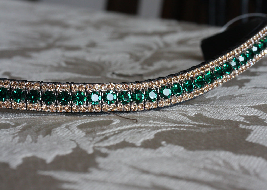 emerald and light colorado crystal bling equiture browband