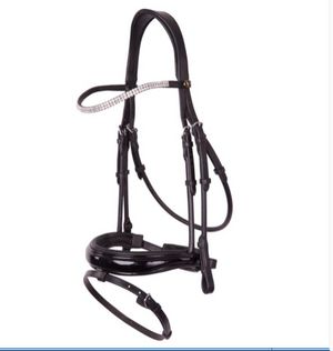 Black Patent and shaped crank noseband with rolled leather