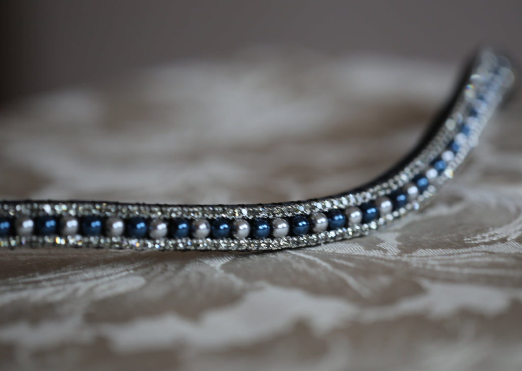 navy and silver pearl crystal bling browband