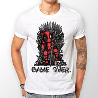 "New 2018 ""GAME OVER"" Deadpool Printed T-Shirt Anime Casual Workout All-Match Men O-Neck T-shirts Funny Cool Loose Tops H1103"