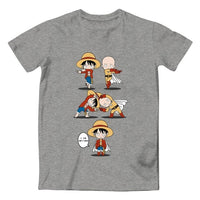 Monkey D Luffy VS Monkey Goku T Shirt Awesome Anime Cool Design T-shirt Dragon Ball Crossover One Piece 100% Cotton Black Tee