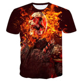 3D T Shirt Men Fire Burning Skull Motorcycle Tees Tops Summer Gothic Anime T Shirt Camisa Masculina Shirt Camiseta de hombre EUR