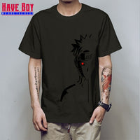 HAVE BOY men fashion t shirt brand summer tees Naruto Shippuden Red Sun Anime striped men t-shirt 100% cotton top tees HB196