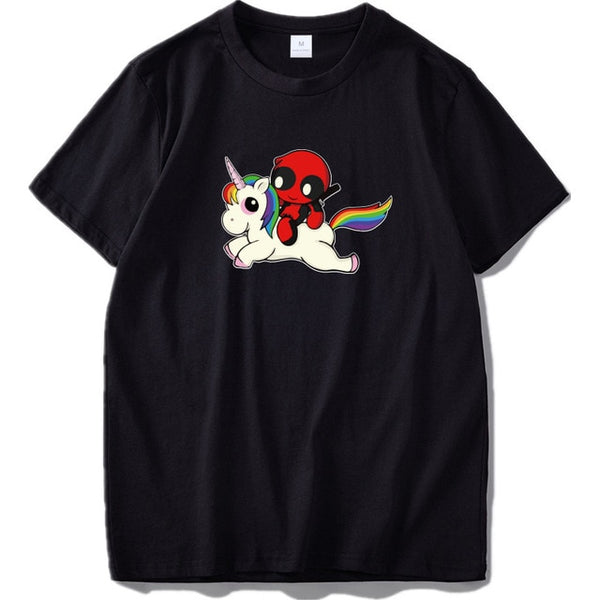 Deadpool T Shirt Unicorn Cute Graphic Print Tee Homme Cotton Rainbow Color Anime Tshirt US Size 100% Cotton Tops