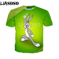 LIASOSO Summer Fashion Men Women Sweatshirt 3D Print Anime Bugs Bunny T Shirt Unisex Short Sleeve Top Harajuku Pullover A077-3