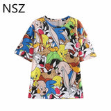 NSZ Women Cartoon Anime Print T Shirt Short Sleeve Round Collar T-Shirt Summer Tee Shirts Female Cotton Top