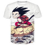Super Saiyan Summer 3D Print Goku Anime Dragon Ball Z Goku Summer Fashion Tee Tops Men / Boys Cartoon Casual T Shirt Tops Tees