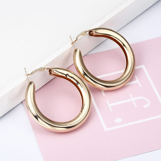 Gold color Silver plated geometric big round earrings