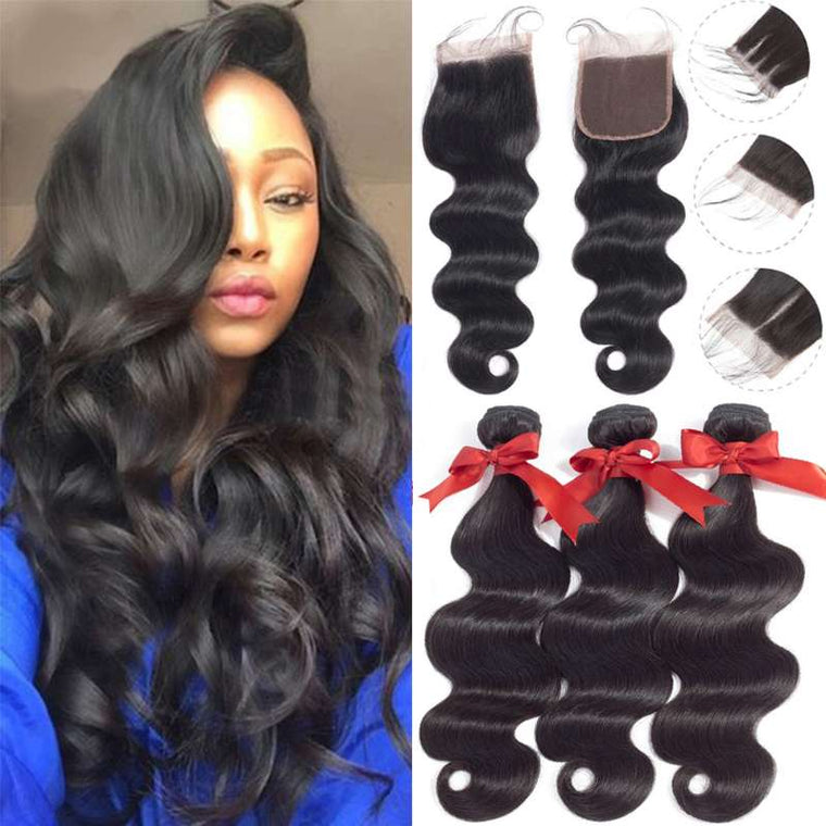 Brazilian Hair Body Wave 3 Bundles With Closure Human Hair