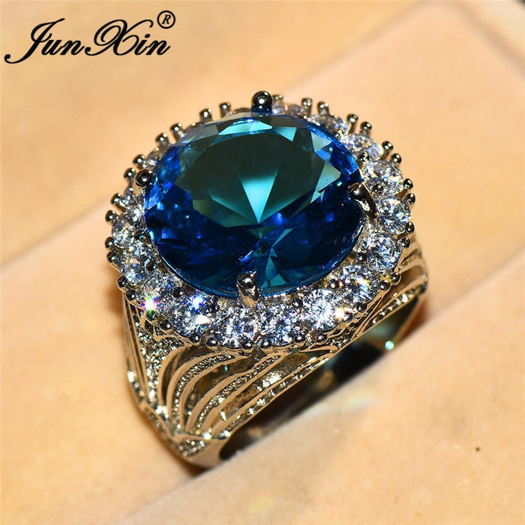 Aqua Blue Zircon Round Big Ring