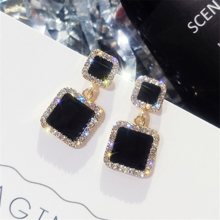 Black Square Geometric Earrings For Women