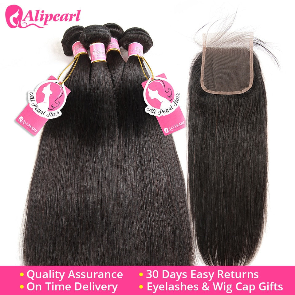 Hair 100% Human Hair Bundles With Closure Brazilian Straight Hair Weave