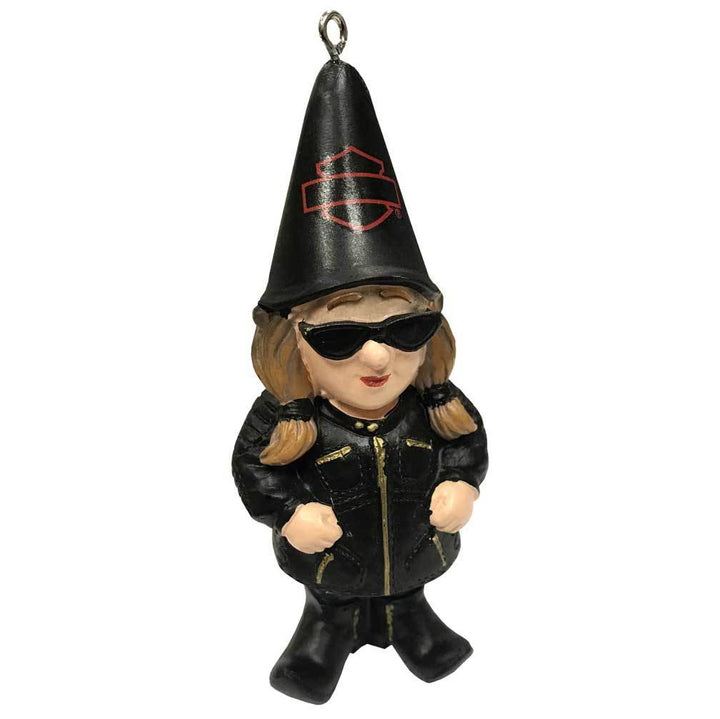Sculpted Lady Biker Gnome Hanging Ornament, Black EG-3OT4902GMB