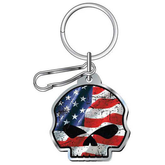 Willie G Skull American Flag Enamel Key Chain P4495