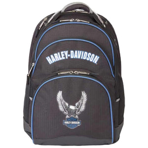 Backpack w/Steel Cable Strap & Eagle Black w/Blue Trim