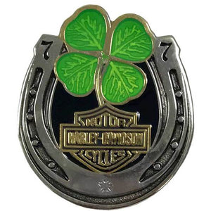 Lucky Clover Horseshoe Pin Antique Finish 8009212