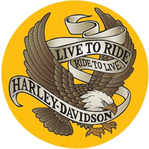 Live to Ride Eagle Round Tin Sign