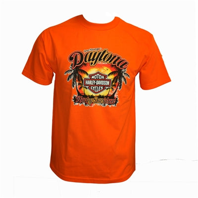 Daytona Palm Sunset Orange Short Sleeve Tee