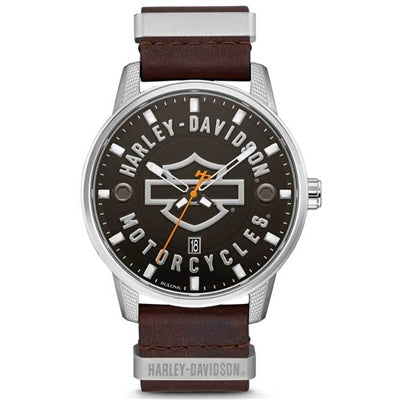 Men's B&S Brown Leather Stainless Steel Watch 76B178