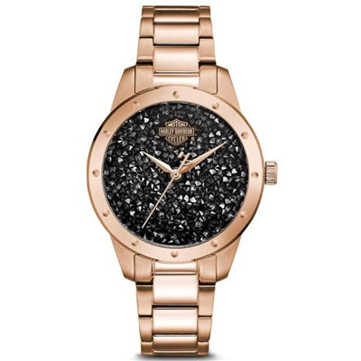 Women's Black Crystal Rock Sparkles Stainless Steel Watch 77L108