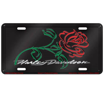 Rose Stamped Metal - License Plate