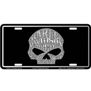 Harley-Davidson Skull Stamped Metal License Tag
