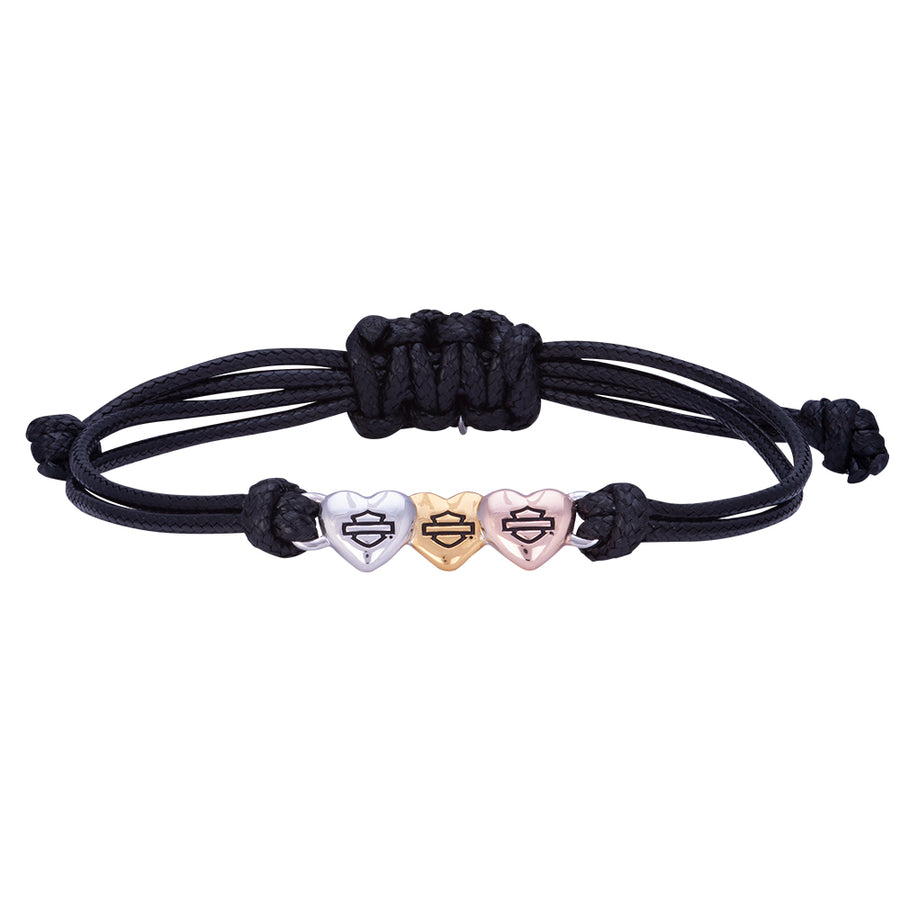 Multi-Colored Hearts Bracelet W/Black Cord HDB0414