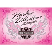 H-D Pink Bar & Shield Flames Birthday Card HDL-20007