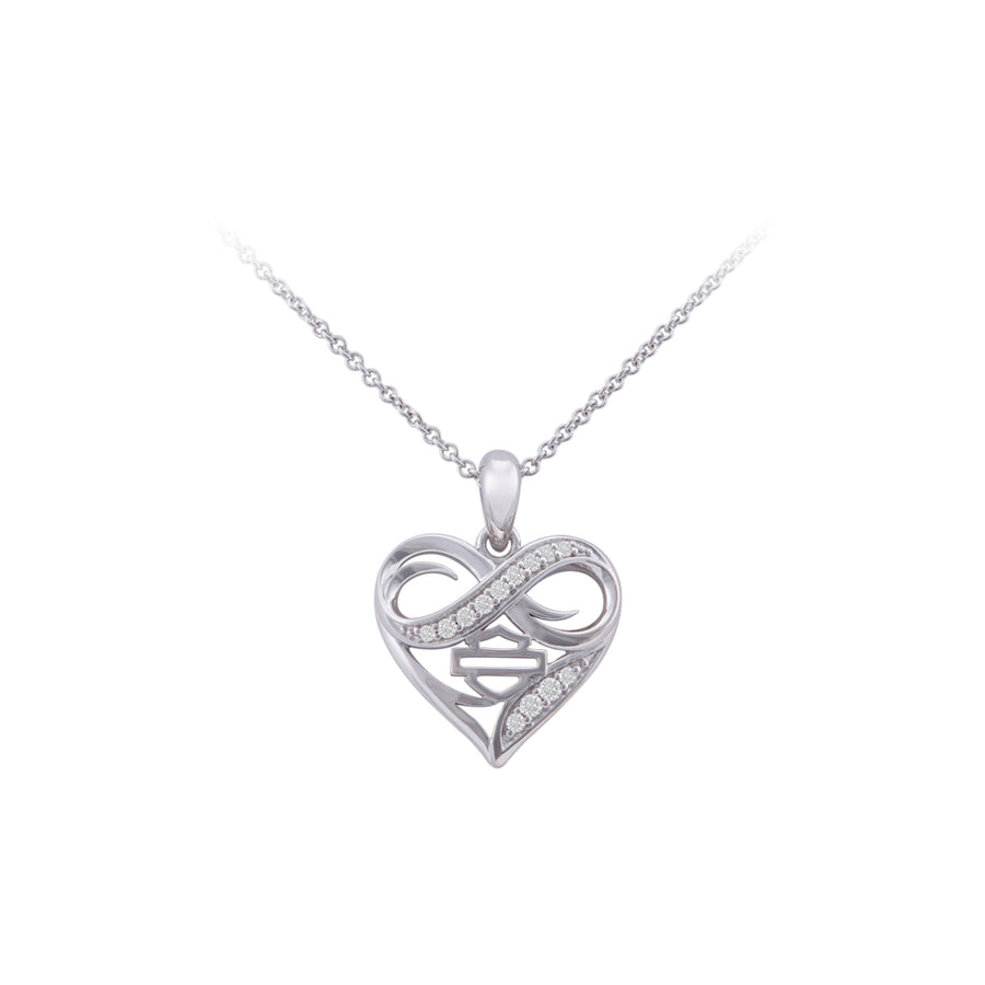 Women's Infinity Crystal Thorn Heart Necklace Sterling Silver HDN0470