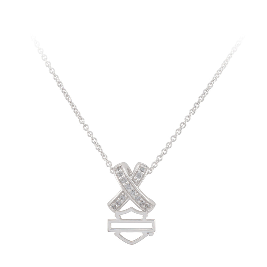Women's Criss Cross Crystal B&S Necklace Sterling Silver HDN0484