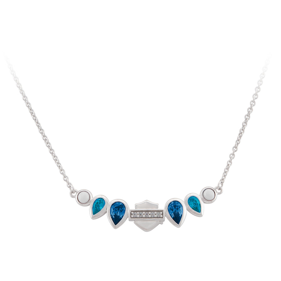 Women's Sterling Silver Blue Garland B&S Necklace HDN0486