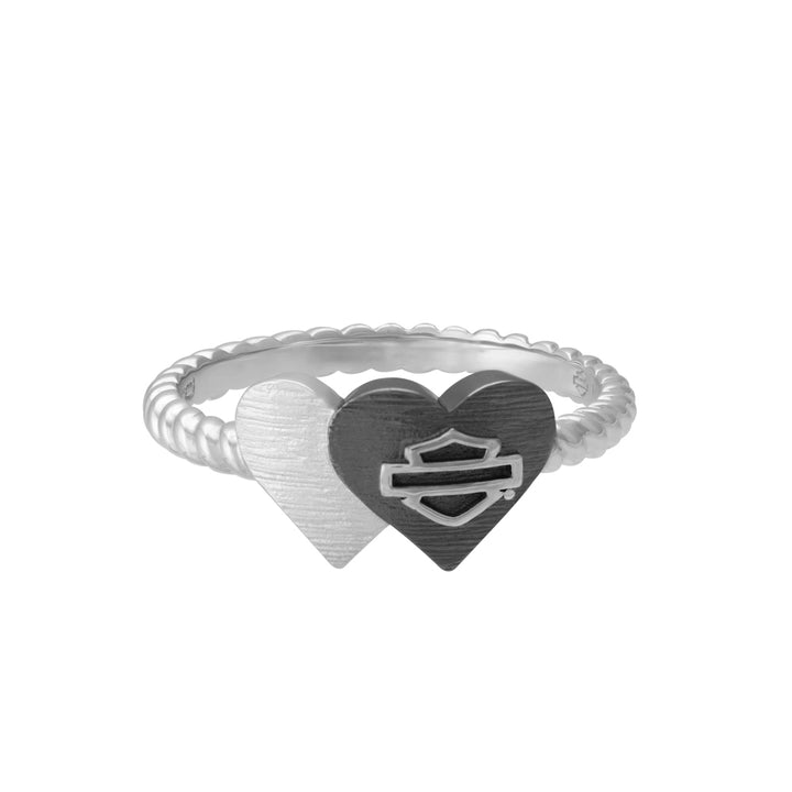 Womens Black & Silver Double Heart Ring, Sterling Silver HDR0531