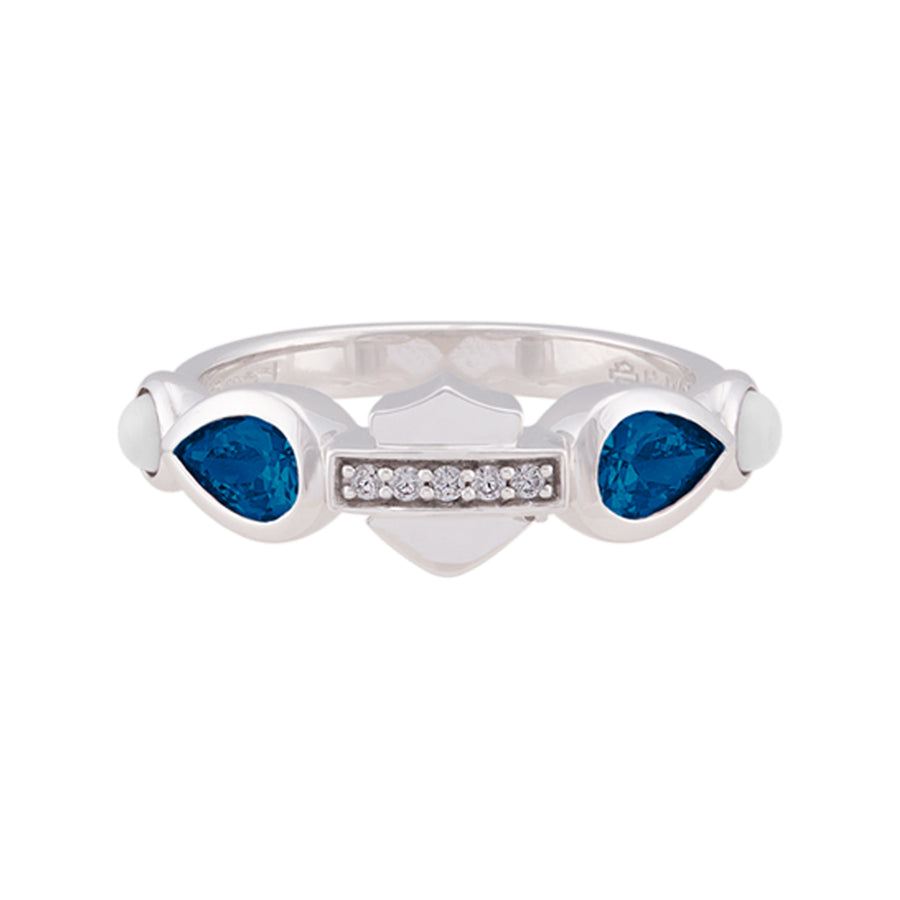 Women's Sterling Silver Blue Garland Stone B&S Ring HDR0558