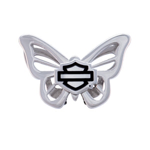 Bar & Shield Butterfly Rally Charm in Silver Tone